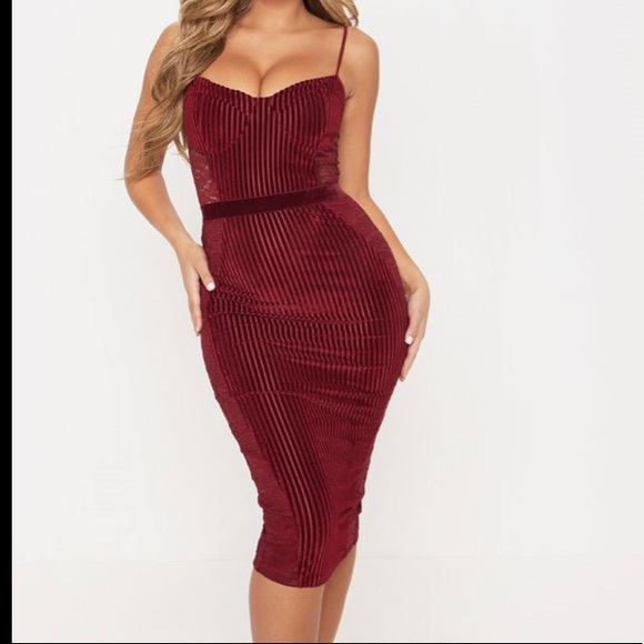 Burgundy Velvet Lace Panel Midi Dress Nwt
